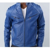 Mens Blue Biker Leather Jacket available in XS to 6XL with YKK zip  - $169.00