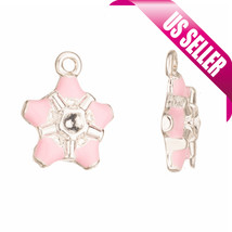 Enamel charms black double-sided tooth with rhinestone setting silver pl... - $1.74