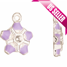 Enamel charms white double-sided tooth with rhinestone setting silver pl... - $1.74