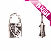 Lock Heart Imprint bracelet charm personalized bracelet Antique Silver-P... - $1.91