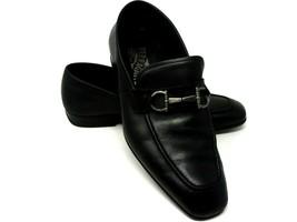 Salvatore Ferragamo Men's Black Leather Formal Loafer Shoes Horsebit Size 7.5 - $144.93