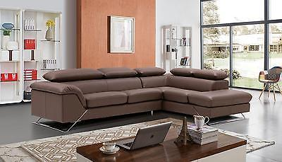 Modern Caracas Leather Sectional  by ESF Righthand chase