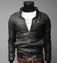 MEN'S UP COLLAR RIDER LEATHER JACKETS COAT OUTERWEAR A5 .Mens new fashion  - $159.00