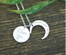 i love you to the moon and back necklace, Crescent moon pendant Necklace... - $13.00