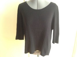 Lane Bryant Classic Black Ribbed Short Sleeve Knit Sweater 18 - 20 - $9.75