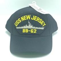 Navy collectible hat cap USN vtg military veteran usa USS New Jersey BB-... - $19.06