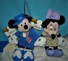 "Disney MICKEY and MINNIE Swinging Forties 8"" Mini Bean Bag Plush Set - $16.34"