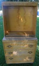Vintage 2-piece China Hutch/Cabinet blonde heavy glass needs work - €175,57 EUR