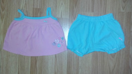 Girl's Size 3/6 M Month 2 Piece Pink Puma Heart & Flower Top & Short Outfit - $8.40