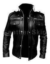 Leather Skin Men Black Genuine Leather Jacket with Front Pockets  - $149.00
