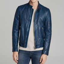 New Men's Leather Jacket Motorcycle Real Lambskin Coat Premium Biker Fit... - $155.00