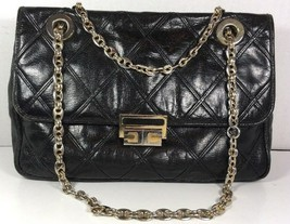 Carlotta Vintage Black Leather Shoulder Bag Chain Strap Gold Tone Hardware - $32.00