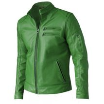 Modish Green Leather Jacket for Men, mens new fashion  - $169.00