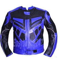 Men Black Blue Motorbike Racing Motorcycle Biker Armour Leather Jacket X... - $149.00