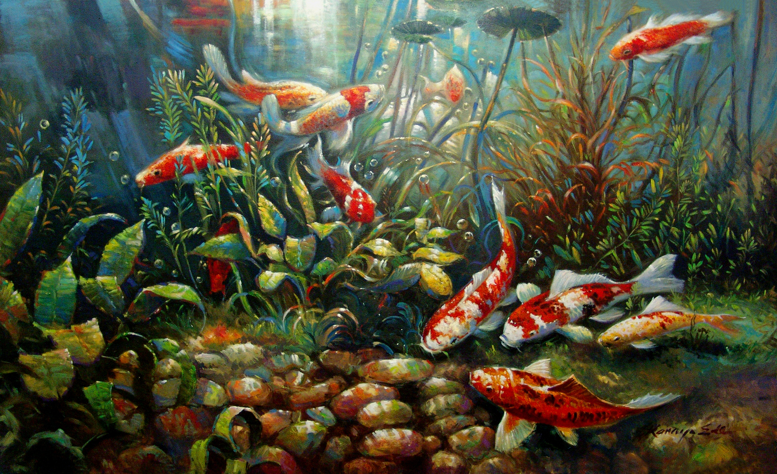 36in x 60in original oil on canvas tropical koi fish for Koi artwork on canvas