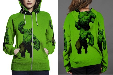 hulk full green image Hoodie Zipper Women's - $48.99 - $58.99