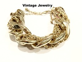 Golden Chain Bracelet Vintage Jewelry Bold Gold Heavy Quality Chains Piece - $59.40
