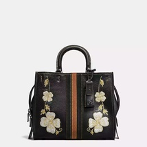 Coach Black Copper/Black Western Embroidery Peb... - $1,300.99