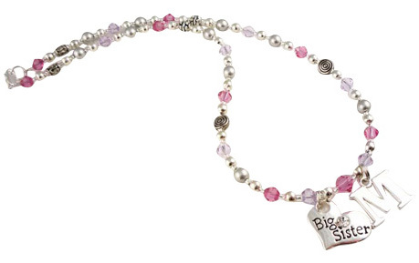 Initial Big Sister Personalized Necklace for Girls, Choose Colors and Charm