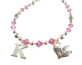 Initial Big Sister Personalized Necklace for Girls, Choose Colors and Charm image 5
