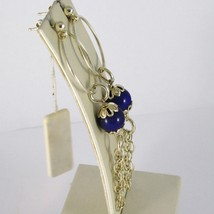 EARRINGS SILVER 925 LAMINATED GOLD HANGING WITH LAPIS LAZULI PENCILS BLUE image 2