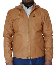 Men's Tan Biker Leather Jacket with Leather Hoodie  - $159.00