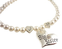 Big Sister Pearl Necklace with initials, Cusomizable Swarovski Colors, S... - $40.00