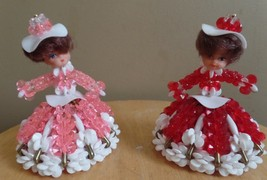 Vintage PINK and RED Pair of SAFETY PIN Hand Crafted Beaded DOLLS - $18.00