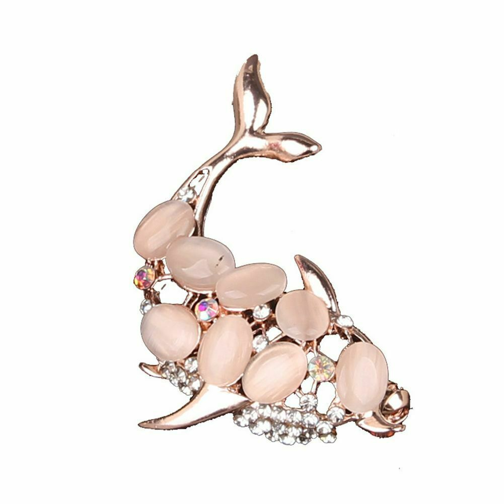 Primary image for Brooch Pin Faux Opal Rhinestone Women Jeans Hat Scarf Clothes Jewelry Fish Shape