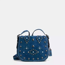 Coach Black Copper/Denim Western Rivets Suede F... - $799.99