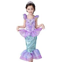 Girl Princess Little Mermaid Ariel Dress Kids Halloween Fancy Costume Ch... - $21.99