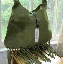 ADA COLLECTION GREEN SUEDE FRINGE HOBO CHICK BAG NWT - $286.10