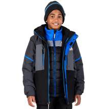 Gerry Youth Kids Boy Systems Winter Jacket Hooded Quilted Black Gray - $50.75