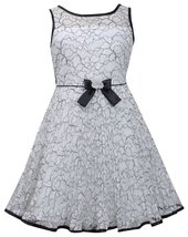 Little Girl 2T-6X Black White Floral Lace Sunburst Pleat Illusion Neckline Dress