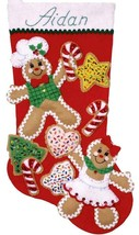 Design Works Gingerbread Friends Christmas Cookie Holiday Felt Stocking Kit 5240 - $29.95