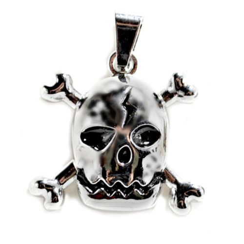 SKULL AND CROSSBONES PENDANT Pirate Jolly Roger Charm Jewelry Necklace Halloween