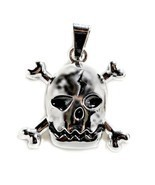 SKULL AND CROSSBONES PENDANT Pirate Jolly Roger Charm Jewelry Necklace H... - €4,78 EUR