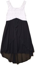 Big Girls Tween 7-16 Black White Sequin Bonaz to Chiffon High Low Dress