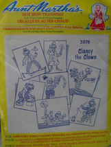 "Unopened Aunt Martha's Hot Iron Transfer Patterrn ""Clancy the Clown""  - $3.00"