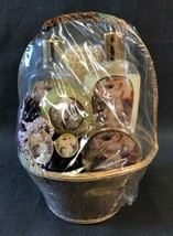 Angelic Dreams 6 Piece Gift Set Cranberry Vanilla Burnish Basket Gold Stars - $19.75