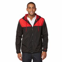 NWT Athletech Men's Hooded Athletic Jacket Colorblock Medium Red Black - $17.09