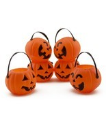 6 Pc Mini Plastic Halloween Pumpkin Jack O Lantern Candy Party Buckets Prop - €5,89 EUR+