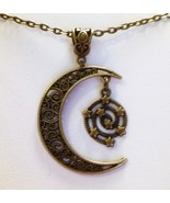 Bronze Crescent Moon Star Necklace  - $17.99