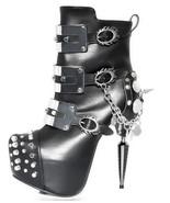 Black Athena Hades Stiletto Gothic Industrial Heel Platform Punk Buckle ... - $270.00