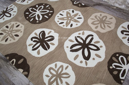 "4x6 (3'6"" x 5'6"") Tropical Coastal Beach Sand Dollar Brown Ivory Beige A... - $129.00"
