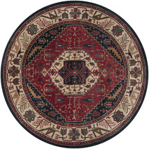 8' Round Designer Southwestern Lodge Tribal Wool Navy Blue Plush Area Rug - $1,310.00