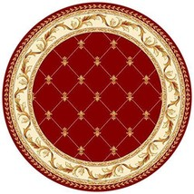 "8' (7'7"") Round Designer Plush Fleur De Lis European Carved Red Area Rug - €245,23 EUR"