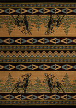 "8x11 (7'10"" x 10'6"") Lodge Cabin Southwestern Deer Buck Carved Area Rug - $399.00"