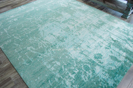 """10x14 (9'9"""" x 13'9"""") Hand Knotted Nourison Silk Shadows Teal Modern Area... - $7,349.00"""
