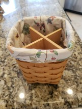 LONGABERGER 6 INCH SQUARE SPOON BASKET WITH WOOD DIVIDER CLOTH LINER EXC... - $39.99